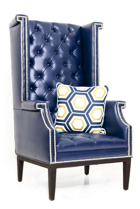 www roomservicestore sinatra wing chair in navy faux