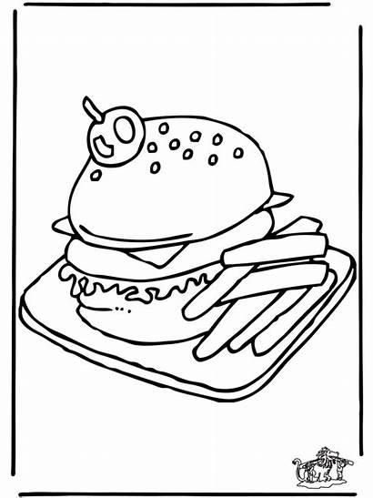 Hamburger Coloring Pages Burger Printable Library Funnycoloring