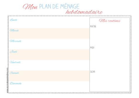 planning femme de chambre planning ménage archives accro à l 39 organisation