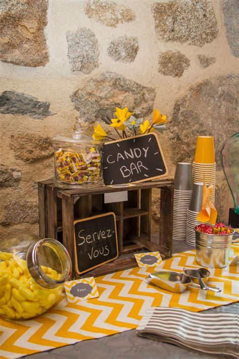 anniversaire en jaune  gris candy bar lovely