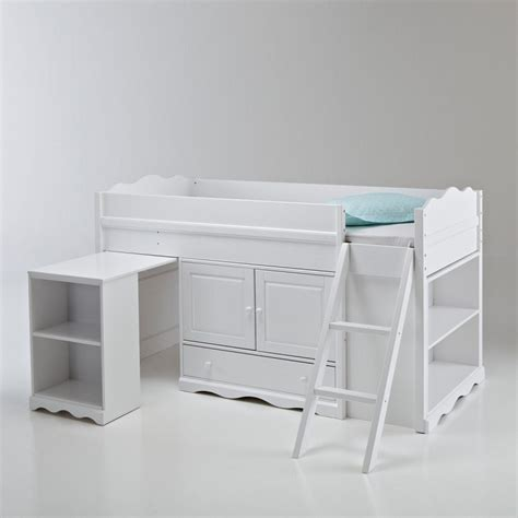 bureau authentic style lit combiné pin massif authentic style blanc la redoute