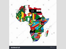 Africa Flag Map All Countries Africa Stock Vector