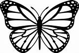 Butterfly Monarch Clip Outline Coloring Line Middle Sweetclipart sketch template