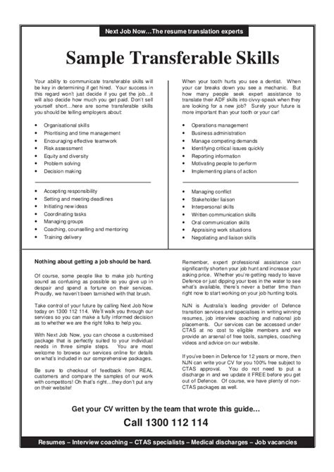 Transferable Skills Resume by Transferable Skills Guide