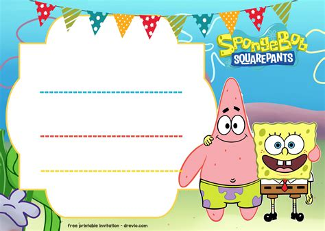 spongebob birthday card template free spongebob birthday invitation template free