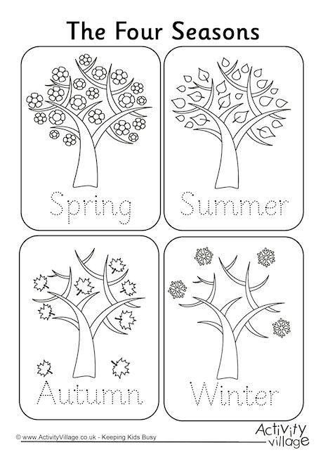 four seasons handwriting worksheet coloring pages