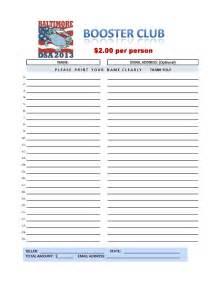 club sign up sheet
