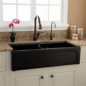 39quot risinger double bowl fireclay farmhouse sink for Black farm sinks for sale