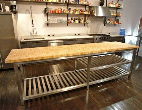Stainless Steel Kitchen Island With Butcher Block Top