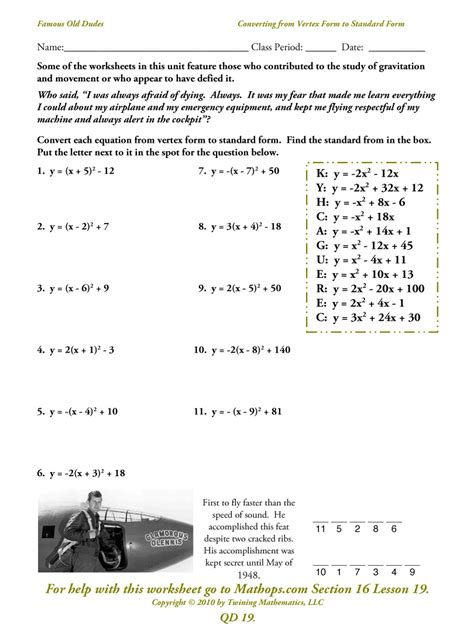 Converting Quadratic Equations Worksheet Standard To Vertex Answers