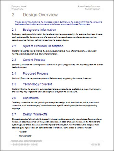 software design document template system design document templates requirements traceability matrix data dictionary