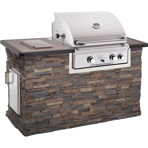 Outdoor Kitchen Island Kits - american outdoor grill stack stone brick bbq island w 24 inch natural gas grill bbq guys