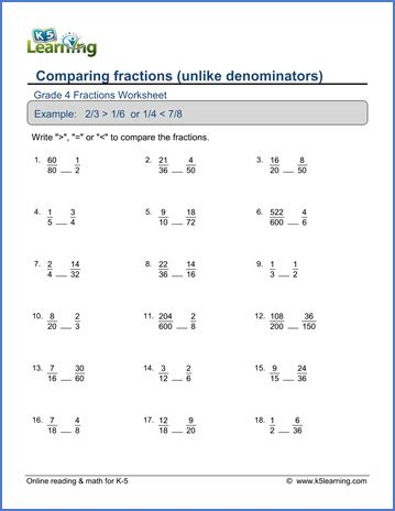 5th grade math worksheets comparing fractions grade 4 math worksheet comparing proper fractions k5