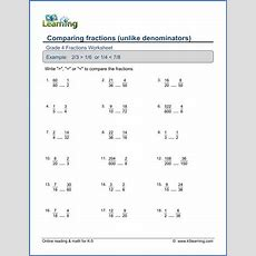 Grade 4 Math Worksheet Comparing Proper Fractions  K5 Learning