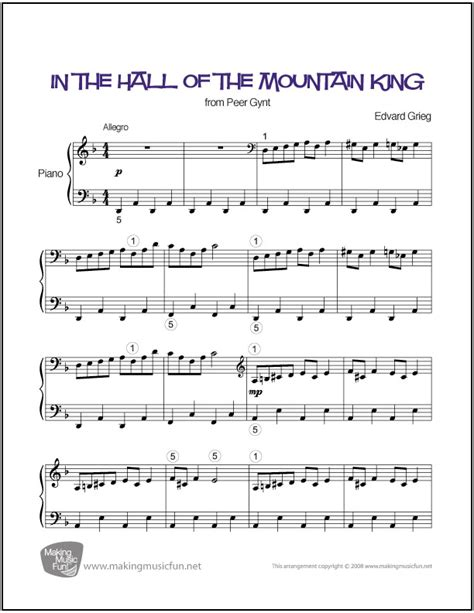 This sheet music has been placed in the public domain by the typesetter. In the Hall of the Mountain King | Easy Piano Sheet Music