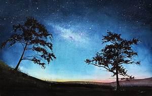 SPACE PAINTING watercolor landscape art print aurora