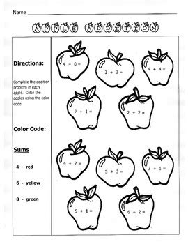apple addition fall math worksheet st grade  kelly