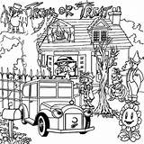 Haunted Coloring Pages Printable Bravery Challenge sketch template