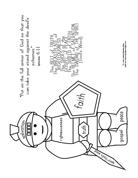 armor of god coloring pages learning printables for