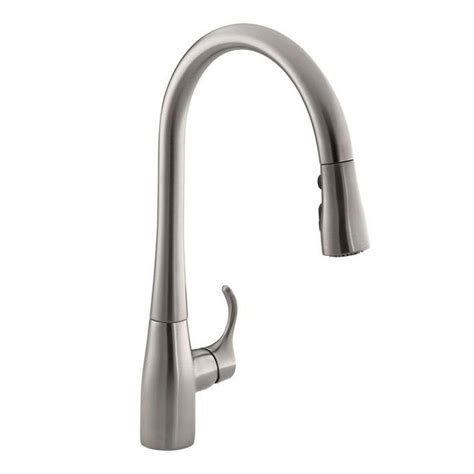 kohler pull kitchen faucet kohler simplice single handle pull down sprayer kitchen faucet with docknetik and sweep spray in