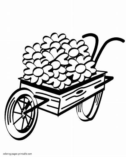 Coloring Pages Spring Wheelbarrow Flowers Printable Outdoor