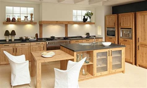 ilot cuisine bois massif cuisine moderne en bois massif