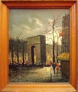 strolling for mid century modern arch street scene oil painting modernism