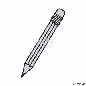 """""""gray silhouette pencil with eraser vector illustration ..."""