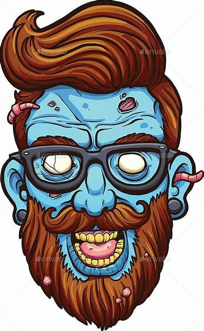Zombie Cartoon Hipster Character Illustration Vector Clip