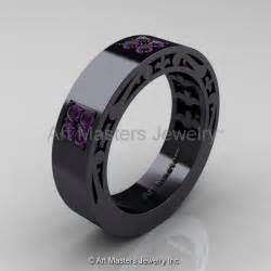 black gold mens wedding rings black gold rings modern vintage black gold rings
