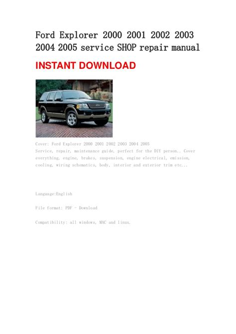 ford explorer workshop manual