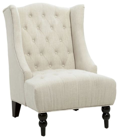 clarice wingback tufted accent chair light beige