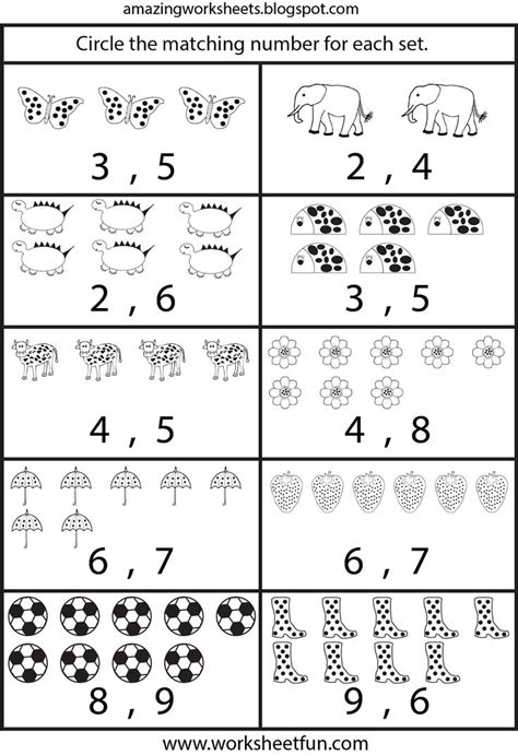 counting worksheets for kindergarten printable