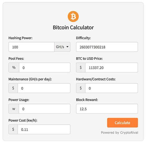 btc mining calculator cryptocurrency widgets cryptorival