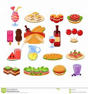 Picnic Food And Drink Set Stock Vector - Image: 69359154