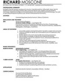 Dental Assistant Resumes Exles by Dental Assistant Resume Sles By Richard Moscone Writing Resume Sle Writing Resume Sle