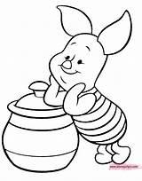 Piglet Coloring Pages Pot Honey Disneyclips Disney Leaning Funstuff sketch template