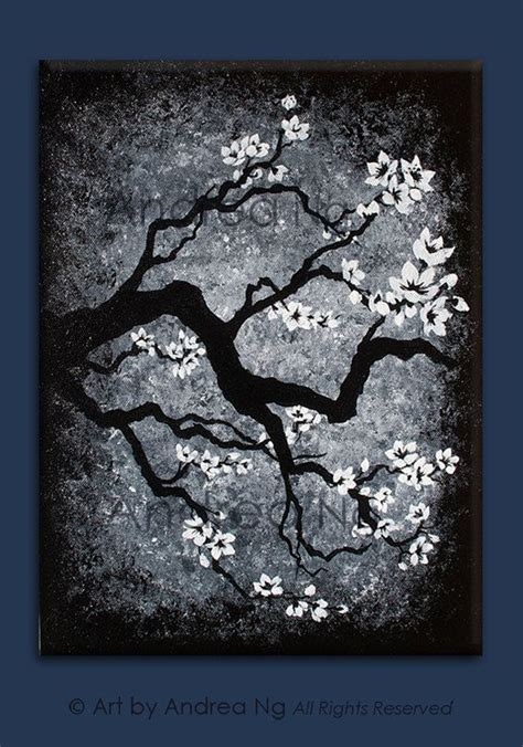 Abstract On Black Canvas by Silent Snowfall Black And White Painting Cherry