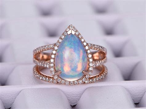 1 155 pear africa opal engagement ring sets pave diamond wedding 14k rose gold lord of gem rings
