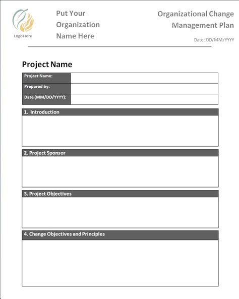 change management plan template  printable word