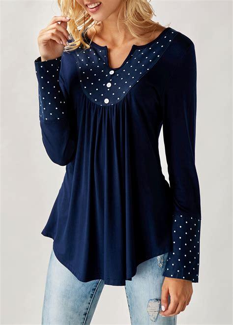 navy blouses navy split neck polka dot print curved blouse rosewe com