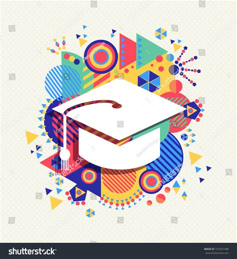 Abstract Wallpaper Design For School by College Graduation Cap Icon School Education Stock