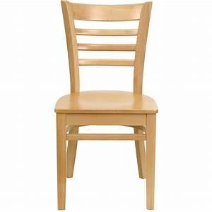 Natural, Wood, Finished, Ladder, Back, Wooden, Restaurant, Chair