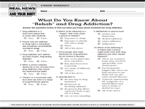 addiction and the brain worksheet the about quot rehab quot and addiction 9th 12th grade worksheet lesson planet