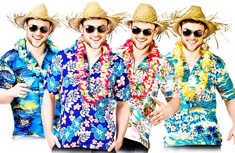 Hawaiian Shirts + Straw Hat Mens Fancy Dress Beach Party