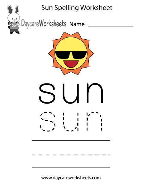 printable sun spelling worksheet  preschool