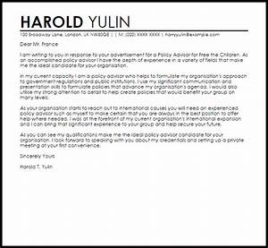 Policy advisor cover letter sample livecareer for Policy advisor cover letter
