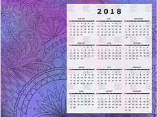Calendar 2018 with abstract purple background Vector Image