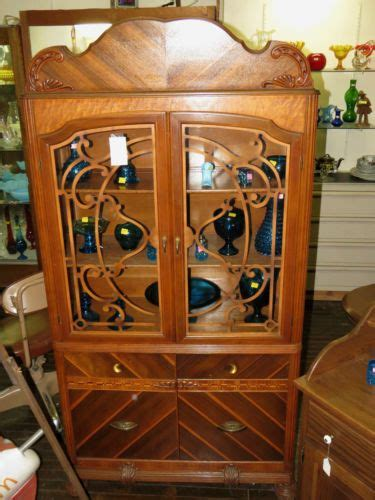 art deco waterfall china cabinet antique 1920 39 s waterfall china cabinet dish cupboard glass