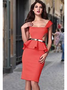 Cut Out Side Belted Peplum Dress Red E6164-3 Cilory com